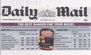 The Black Farmer sausages - Daily Mail Best Banger